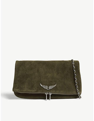 Zadig & Voltaire Taupe Brown Rock Suede Clutch Bag