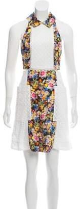 Mary Katrantzou Eyelet-Trimmed Mini Dress White Eyelet-Trimmed Mini Dress