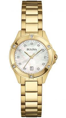 Bulova 27mm Golden Bracelet Watch w/ Diamonds
