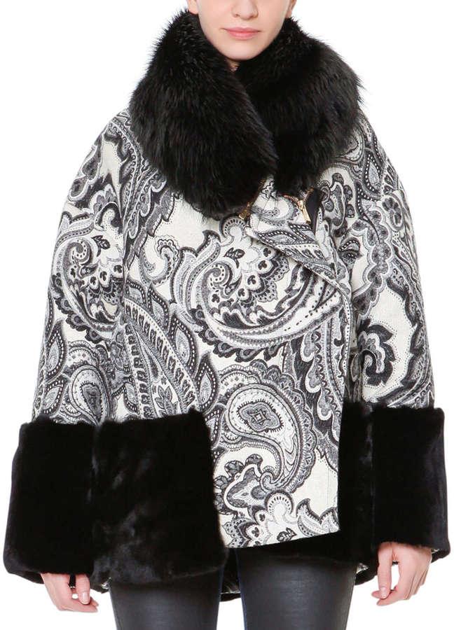 Just Cavalli Paisley Jacquard Rabbit Fur-Trim Jacket