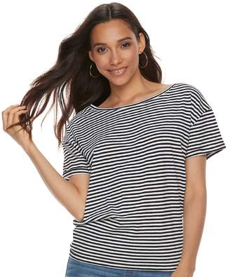 Women's Olivia Sky Striped Tie Accent Tee