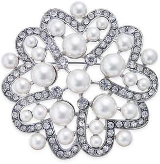 Nina Silver-Tone Crystal & Imitation Pearl Flower Brooch