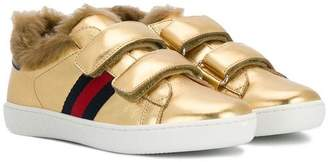 Gucci Kids Children's leather sneaker with faux fur