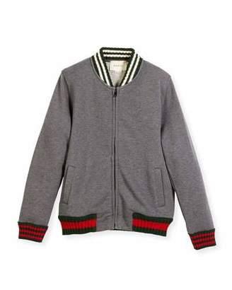Gucci Zip-Up Jacket w/ Web Knit Trim, Size 4-12