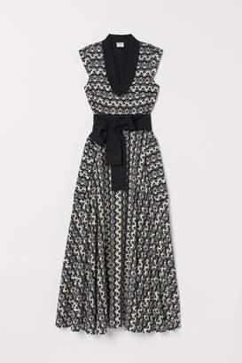 H&M Patterned Linen-blend Dress - White