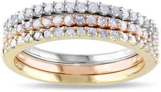 Stella Grace Tri Tone Sterling Silver 1/5 Carat T.W. Diamond Stack Ring Set