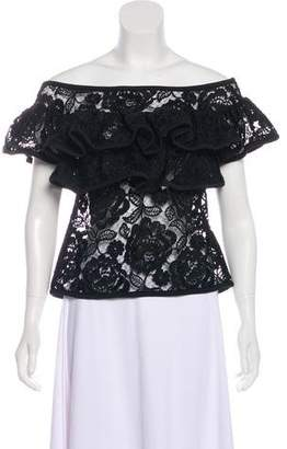 Alexis Lace Ruffle-Trimmed Blouse