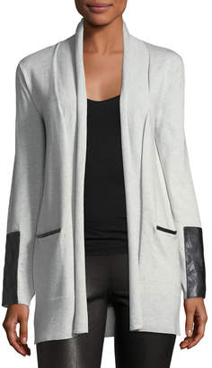 Neiman Marcus Faux Leather-Trimmed Draping Cardigan