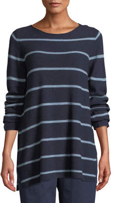 Eileen Fisher Striped Wool-Blend Pullover Sweater, Petite