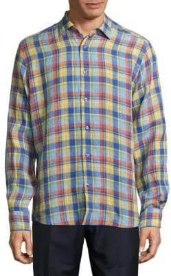 Saks Fifth Avenue Windowpane Plaid Linen Shirt