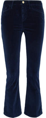 Frame Velveteen Cropped Cotton-blend Velvet Flared Pants - Navy