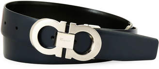 Salvatore Ferragamo Men's Faceted Double-Gancio Leather Belt