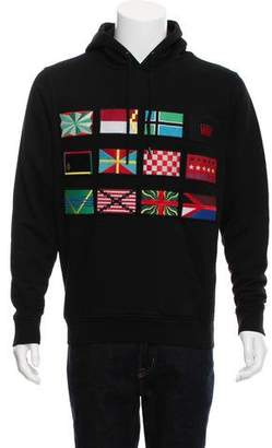 Marcelo Burlon County of Milan Applique Embellished Flags Hoody w/ Tags