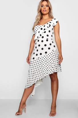 boohoo Plus Spotted Ruffle Asymmetric Midi Dress