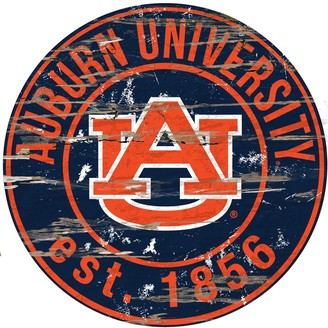 "Auburn Tigers Distressed 24"" x 24"" Round Wall Art"