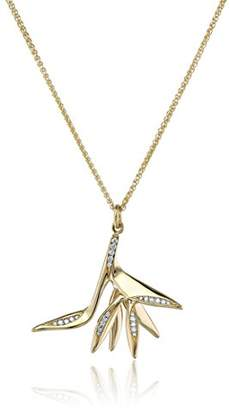 House of Eleonore 18k Yellow Gold Bird of Paradise Pendant Necklace