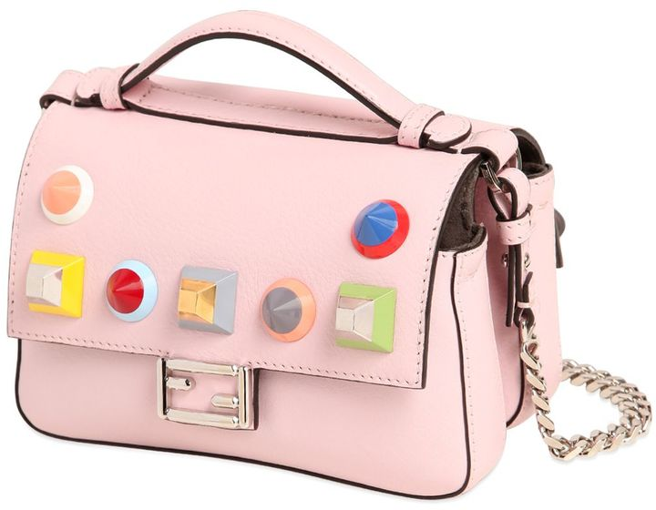 Micro Double Baguette Stud Leather Bag