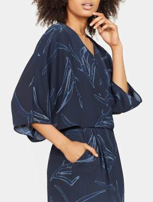 Halston Printed Kimono Sleeve Faux Wrap Dress