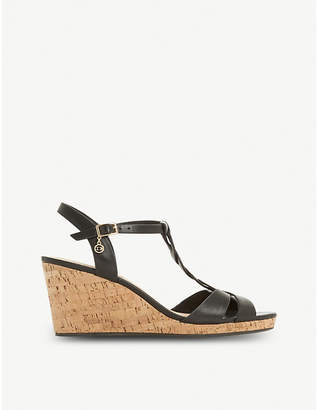 Dune Koala plait T-bar cork wedge heels