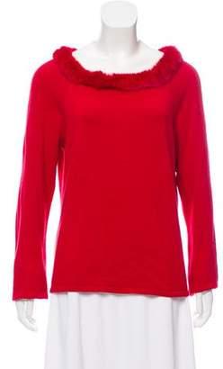 White + Warren Fur-Trimmed Silk Sweater