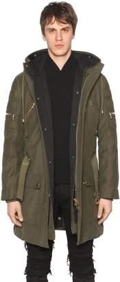 Balmain Hooded Zip Canvas Parka Coat W/ Lining
