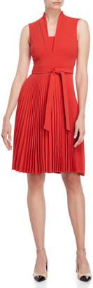 Karen Millen Red Belted Pleated Dress