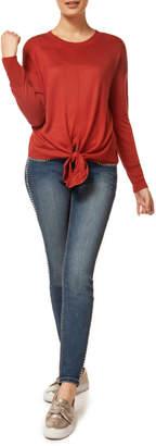Dex Scoop Neck L/S Front Tie Sweater