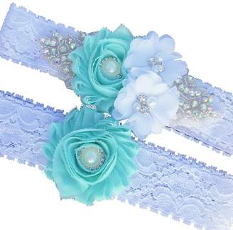 The Pink Bunny Weddings Mint Rhinestone Floral Wedding Garter Set