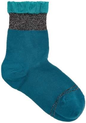 Pierre Mantoux Green Ruffle-trimmed Cotton Blend Socks