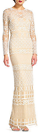Adrianna PapellAdrianna Papell Illusion Neck Long Sleeve Fully Beaded Gown