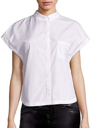Giamba Lace-Embroidered Poplin Blouse