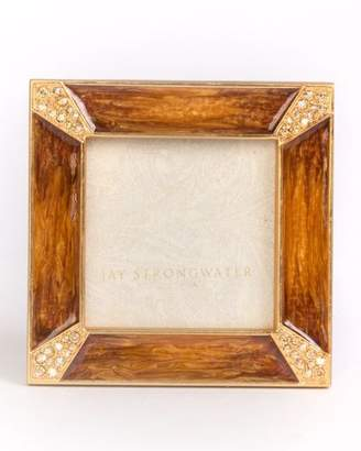 Jay Strongwater Leland Pave Corner Square Picture Frame, Medium Brown