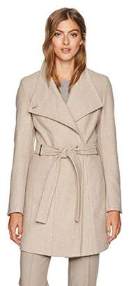 Calvin Klein Women's Wool wrap Flare Coat and Toggle Neck Closure,L
