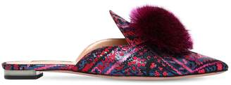 Aquazzura 10mm Powder Puff Jacquard Mules