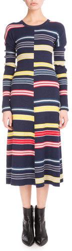KenzoKenzo Long-Sleeve Colorblock Stripe Midi Dress, Midnight Blue
