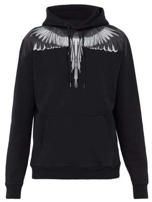 Marcelo Burlon County of Milan Wing Print Cotton Sweatshirt - Mens - Black Silver