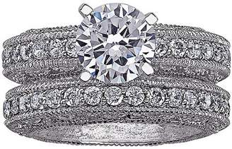 Generic Vintage-Inspired CZ Solitaire Fancy Wedding Ring Set