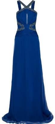 Roberto Cavalli Embellished Plissé-Paneled Silk-Chiffon Gown