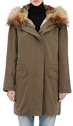 Yves Salomon Army by ARMY BY WOMEN'S COTTON PARKA & REMOVABLE FUR LINING