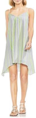Vince Camuto Sharkbite Stripe Cotton Blend Gauze Dress