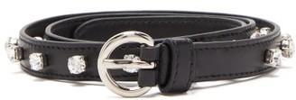 Miu Miu Crystal Embellished Leather Belt - Womens - Black