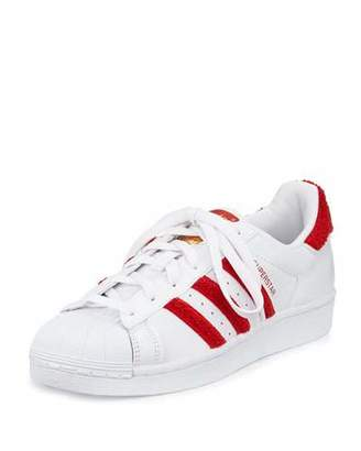Adidas Superstar Classic Fashion Sneaker, White/Scarlet $85 thestylecure.com