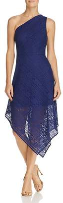 Adrianna Papell Stripe Lace Asymmetric Dress