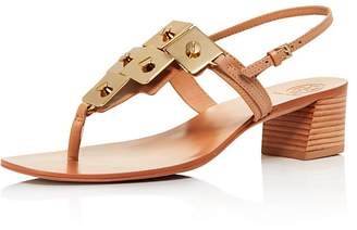 Tory Burch Women's Thompson Embellished Leather Block Heel Sandals