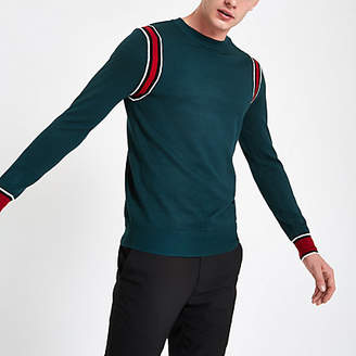 River Island Green slim fit long sleeve tipped jumper