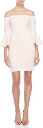 Betsey Johnson Blush Off-the-Shoulder Bell Sleeve Dress