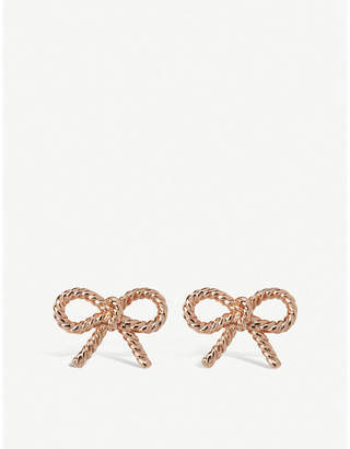 Olivia Burton Bow-shaped rose gold-plated sterling silver earrings