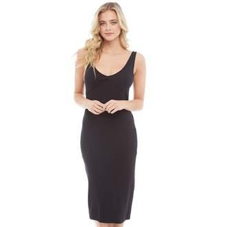 Brave Soul Womens Lilly V-Neck And Back Midi Dress Black