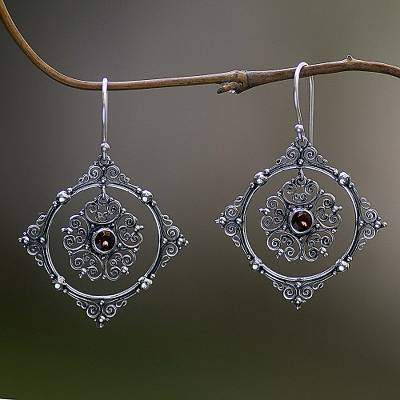 Hand Made Sterling Silver Garnet Dangle Earrings Indonesia, 'Red Vibrations'