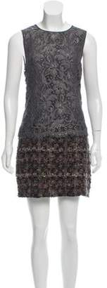 Dolce & Gabbana Lace-Paneled Tweed Dress Grey Lace-Paneled Tweed Dress